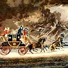 Horse-Drawn Mail Coach Newmarket Heath, Suffolk, England 1827 by Dennis Melling