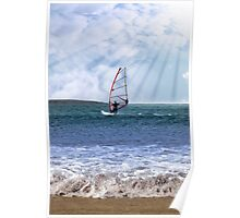 windsurfer in a storm with rays of sunshine Poster