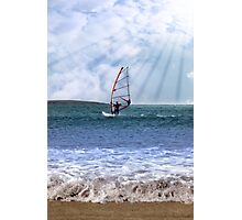 windsurfer in a storm with rays of sunshine Photographic Print