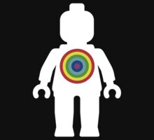 White Minifig with Rainbow Target by Customize My Minifig by ChilleeW