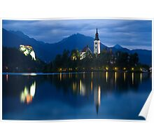 Dusk over Lake Bled Poster