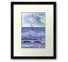 windsurfer windsurfing in a storm Framed Print