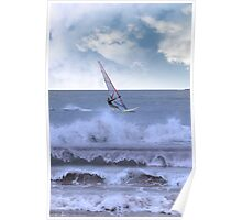 windsurfer windsurfing in a storm Poster