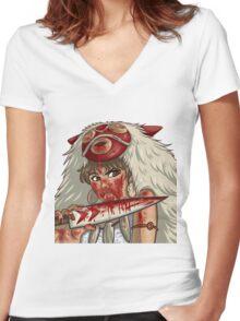 Mononoke's Bloody Knife Women's Fitted V-Neck T-Shirt