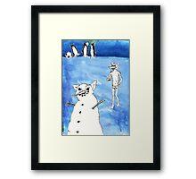 Wolf's Lesson - Snow Framed Print