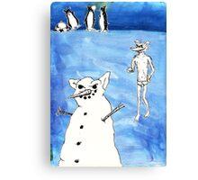 Wolf's Lesson - Snow Canvas Print