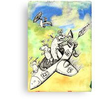 Wolf's Lesson - Lamb takes off Canvas Print