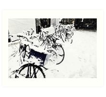 Snow Covered Bicycles Art Print