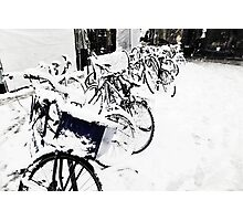 Snow Covered Bicycles Photographic Print