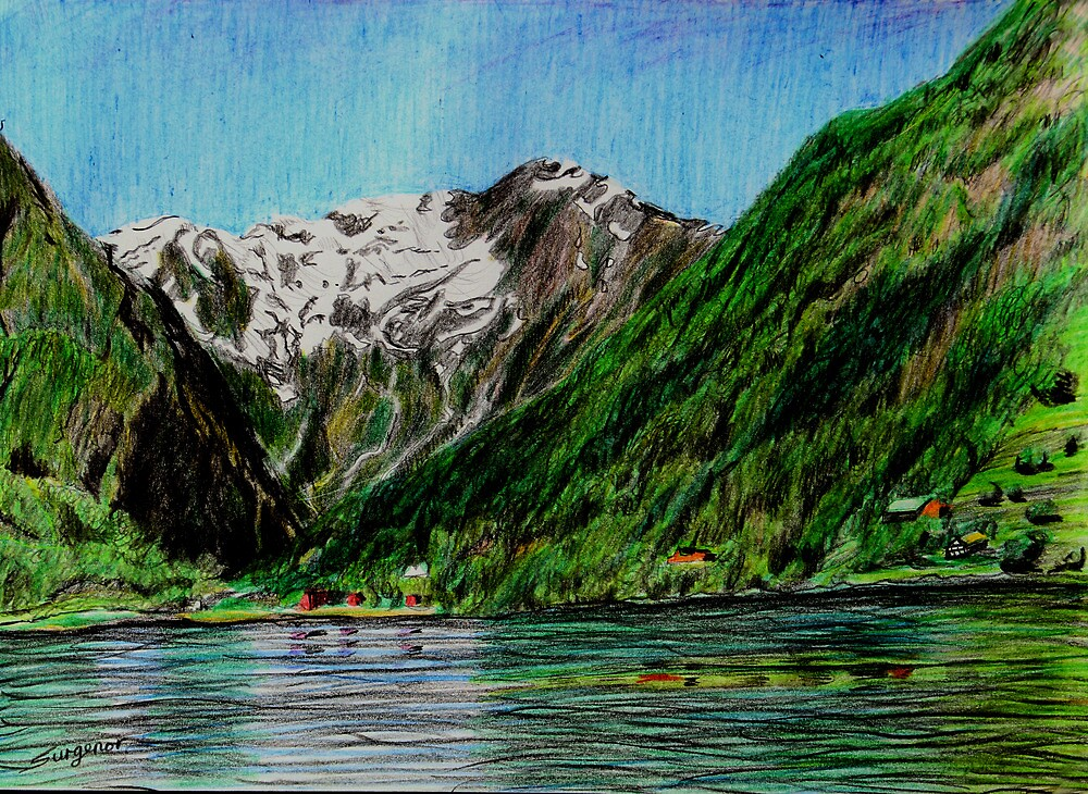 Balestrand, mountains and fiord by Freda Surgenor