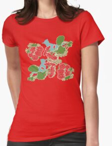 Geraniums and Blue Jays Womens Fitted T-Shirt