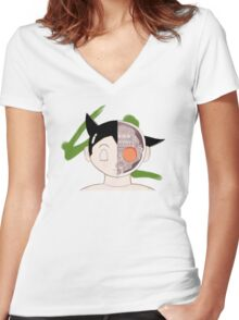 Bust of Astro Boy Women's Fitted V-Neck T-Shirt