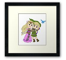 Loz - link and zelda with navi Framed Print