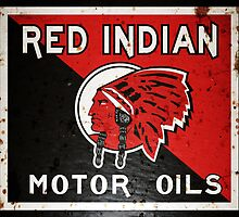 Red Indian Motor Oil vintage sign rusted version by htrdesigns