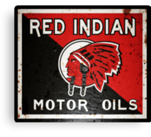 Red Indian Motor Oil vintage sign rusted version Canvas Print
