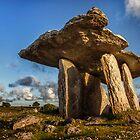 Poulnabrone dolmen the Burren, County Clare, Ireland. by MickBourke