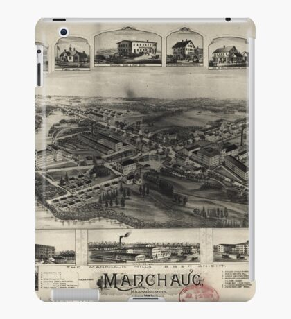 Panoramic Maps Manchaug Massachusetts iPad Case/Skin