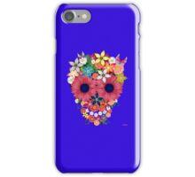 Skull flowers - blue iPhone Case/Skin