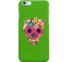 Skull Flowers - green iPhone Case/Skin