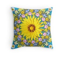 Yellow Everlastings with other Wildflowers Throw Pillow