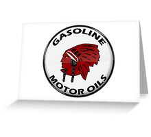 Red Indian Gasoline vintage sign reproduction crystal vers. Greeting Card