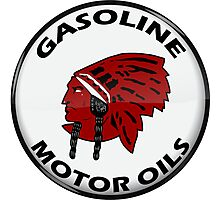 Red Indian Gasoline vintage sign reproduction crystal vers. Photographic Print