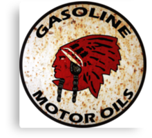 Red Indian Gasoline vintage sign reproduction rusted vers. Canvas Print