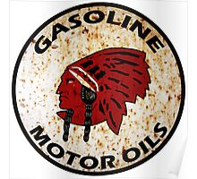 Red Indian Gasoline vintage sign reproduction rusted vers. Poster
