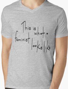 Feminist Looks Like Mens V-Neck T-Shirt