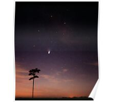 Comet Hale-Bopp at Sunrise and the Milky Way. Poster