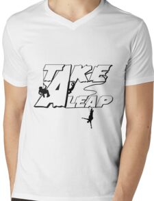 TAKE A LEAP Mens V-Neck T-Shirt