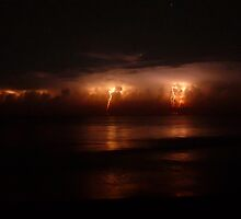 Lightning and Surf #1. Melbourne Shores. by chris kusik