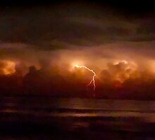 Lightning and Surf #2. Melbourne Shores. by chris kusik