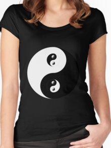 Ying Yang B&W Women's Fitted Scoop T-Shirt
