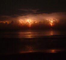 Lightning and Surf #3. Melbourne Shores. by chris kusik