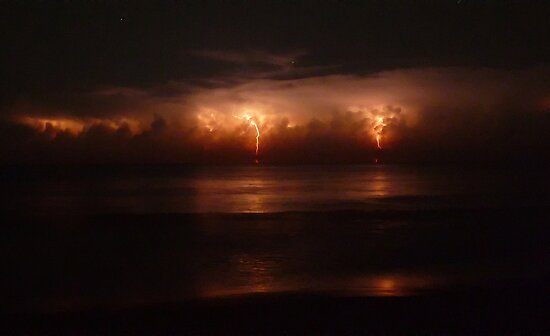 Lightning and Surf #3. Melbourne Shores. by chris kusik
