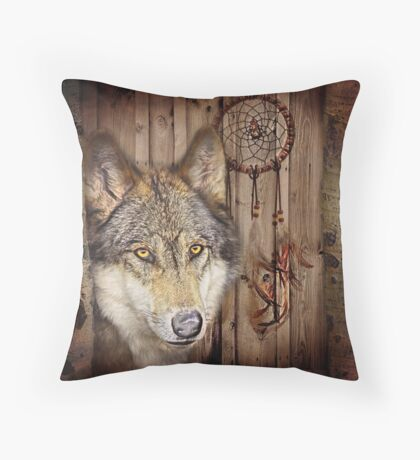 western country native dream catcher wolf art Throw Pillow