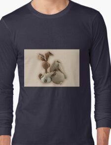 Two hugging toy bunnies Long Sleeve T-Shirt