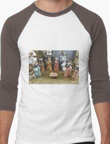 Christmas nativity scene  Men's Baseball ¾ T-Shirt