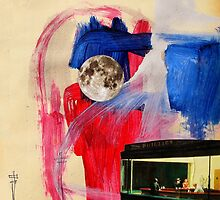 night hawkes with abstract sky and full moon by Loui  Jover