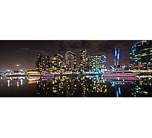 Melbourne's Docklands Harbour by Night Photographic Print