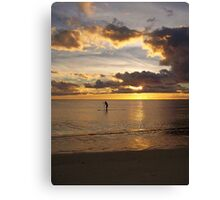 Paddle Surfing at Sunset Canvas Print