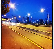 Burrard Street Bridge at dusk by RubyTuesday72