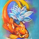 Koi with Lotus by Michelle Potter