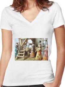 Christmas nativity scene  Women's Fitted V-Neck T-Shirt
