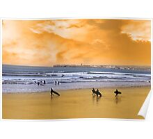 young surfers walking on sunset beach Poster