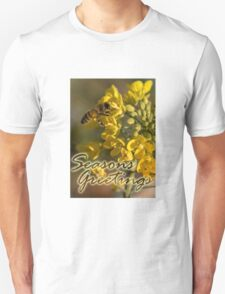Seasons Greetings from the garden, Honey Bee and Broccoli Flowers T-Shirt