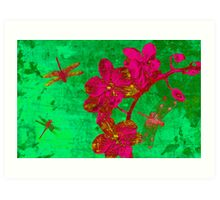 Dragonfly and Flowers. Art Print