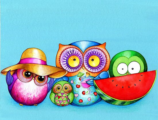 Summer Beach Fun Owl Family by Annya Kai