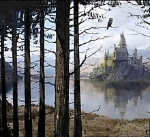 Hogwarts Through the Trees by Serdd